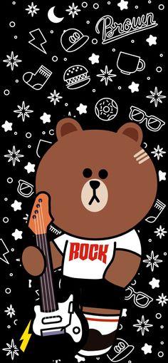 Kaws Iphone Wallpaper, Floral Wallpaper Iphone, Iphone Background Wallpaper, Galaxy Wallpaper, Lines Wallpaper, Brown Wallpaper, Bear Wallpaper, Line Brown Bear, Line Cony