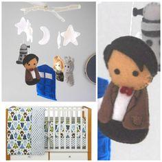 Dr. Who Nursery Crib Mobile, Doctor Who  Mobile : FoxFluff.etsy.com Bedding : LandofNod.com