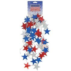 4th of July~Red, White & Blue Star String Garland   (Looks Easy Enough To make!)