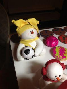 Custom polymer clay snowman ornaments