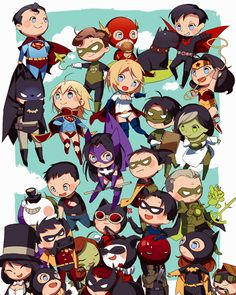 DC Characters. I love Superman pulling Batman up by his cape. Too cute!
