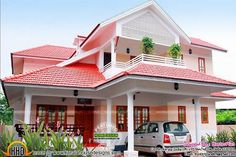 Floor Plan Double Storey House Designs with Modern Residential House Plans Having 2 Floor, 4 Total B Double Storey House, House Plans With Photos, Kerala House Design, Kerala Houses, Home Improvement, Home And Garden, Floor Plans, Backyard, How To Plan