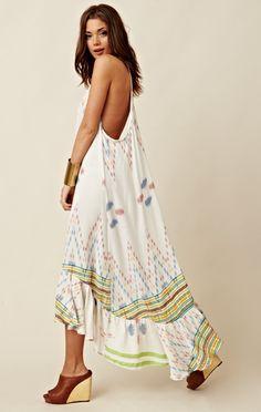 INDAH  LONG T-BACK RUFFLE DRESS