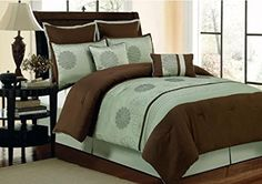 Duck River Textile Novara 8-Piece Oversize and Overfilled Queen Comforter Set, Chocolate/Sage