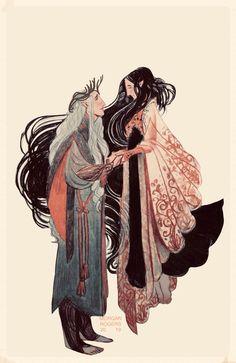 Tolkien Art Dump : Thingol and Melian Art And Illustration, Character Illustration, Art Illustrations, Tolkien, Hobbit, Wow Art, Character Design Inspiration, Pretty Art, Character Art