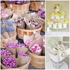 farmers market flowers favors - use for decor or centerpiece then for favor, could fill with herbs also.