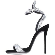 Preowned Giuseppe Zanotti New Silver Glitter Ankle Evening Sandals... ($1,525) ❤ liked on Polyvore featuring shoes, sandals, black, high heels, silver special occasion shoes, high heel sandals, silver glitter shoes, evening sandals and silver evening sandals #giuseppezanottiheelssilver #GlitterShoes