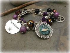 Hand stamped Goddess Cerridwen chunky charm by WiseWomanCollective, $18.99