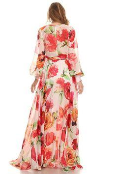 Beautiful floral print wrap maxi dress