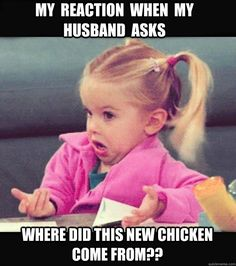 My  reaction  when  my  husband  asks Where did this new chicken     come from??