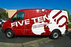 This full van wrap looks great with its red and white color scheme!   Wraps are great advertising for small businesses with only one or two vehicles or large businesses with entire fleets.