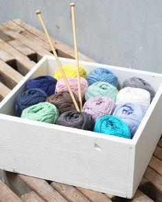 Are you interested in knitting or crochet? New colours, in stores now. Price per 50g skein DKK 11,96 / SEK 16,80 / NOK 16,60 / EUR 1,73 / ISK 399 #100percentcotton #yarn #knitting #crochet #crocheting #inspiration #sostrenegrene #søstrenegrene #grenediy