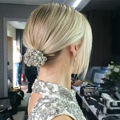 Simple Bun Updo with Rhinestones for Shoulder Length Hair