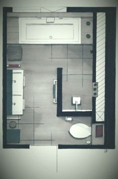 Ein Grundriss aus dem Badezimmer – – – A floor plan from the bathroom – Bathroom Renos, Bathroom Layout, Bathroom Renovations, Bathroom Interior, Modern Bathroom, Small Bathroom, Design Bathroom, Minimalist Bathroom, Bath Design