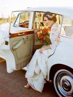 Romantic Vintage Bride in a Classic Get Away Car | Kristin La Voie Photography | http://heyweddinglady.com/vintage-wedding-styling-autumn-garden/