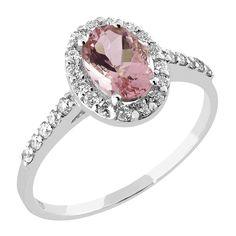 Upea Precious-timanttisormus halo-istutuksella on valmistettu 14 k valkokullasta. Näyttävää sormusta koristaa yksi 0,70ct ovaalinmuotoinen morganiitti. Hempeän vaaleanpunaista jalokiveä kehystää 16 säihkyvää timanttia ja sormuksen siroa flakkarunkoa koristaa 10 timanttia. Timanttien yhteispaino on 0,30ct ja laatu Top Wesselton / VS. Kohotetun istutuksen ansiosta tämän Precious-sormuksen viereen istuu esimerkiksi malliston rivisormus täydellisesti! Hinta 2550 €. Malm, Engagement Rings, Diamond, Jewelry, Enagement Rings, Wedding Rings, Jewlery, Jewerly, Schmuck