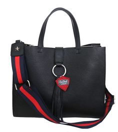 """New """"Black Star"""": 100% tumbled black genuine leather with bicolor ribbon shoulder strap. Shop at: www.chixbags.it Original Handmade Bags Tuscany/Italy Worldwide shipping info@chixbags.it"""