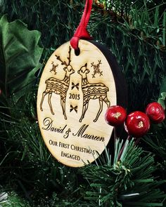 This Elegant Reindeer Christmas Ornament is personalized and will make an excellent addition to your christmas tree this year. Also makes a perfect gift for friends, family and newly engaged couples! ♥ Every Text Can Be Changed on This Ornament ♥  • • • • • • • • • • • • • • • • • • • • • • • • • • • • • • • • • • • • • [ LIMITED TIME ONLY!! ]  Like or Heart this listing and receive a free gift box to go along with your Christmas ornament.  • • • • • • • • • • • • • • • • • • • • • • • • •…