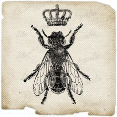 The Queen Bee     paris france fleur de lys crown vintage romantic ephemera gift tag label napkins burlap pillow Sheet n.151. $1.00, via Etsy.