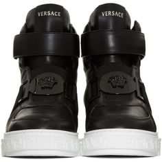 Versace Black Leather High-Top Sneakers (€990) ❤ liked on Polyvore featuring shoes, sneakers, black high top sneakers, leather high top sneakers, high top shoes, versace shoes and black sneakers