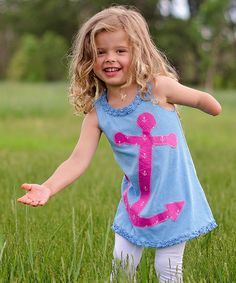 Love this mini scraps Blue & Pink Anchor Dress - Infant, Toddler & Girls by mini scraps on #zulily! #zulilyfinds