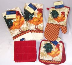 Country Rooster Kitchen 7 PC Set Towels Pot Holders Oven Mitt #HomeCollection