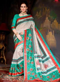 Classy Turquoise And Grey Printed With Party Wear Saree  http://www.angelnx.com/featuredproduct#/sort=p.date_added/order=DESC/limit=32/page=10
