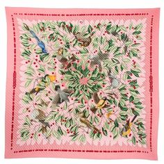 Silk scarf. Pleated. Birds and flowers. Pink. Hermès. What's not to love?