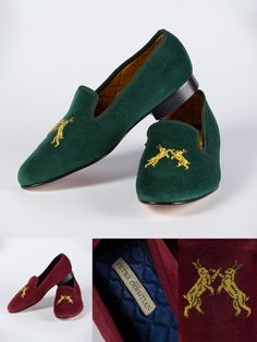 Velvet Albert Handmade Slipper - Cobblers to the King… make our reassuringly expensive, hand-made, leather-soled velvet Albert house shoe, aristocratically embroidered with Boxing Hares in gold bullion! Comfort, pedigree and luxury in a slipper. Preppy College Style, Preppy Style, House Shoes Mens, Me Too Shoes, Men's Shoes, Velvet Slippers, Gold Bullion, Perfect Wardrobe, Dream Shoes
