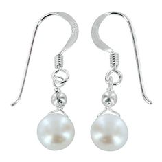 White Cultured Pearl and Sterling Silver Earrings