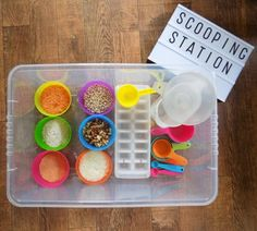 Scooping Station. Toddler sensory activity!