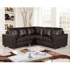 Windsor Dark Brown Leather Corner Sofa Collection