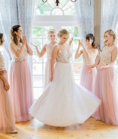 Blush Tulle Skirt, Gold Lace, Lace Tops, Real Weddings, Flower Girl Dresses, Wedding Dresses, Skirts, How To Wear, Instagram