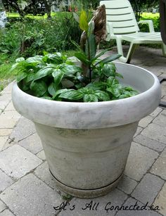It's All Connected: Faux Cement Look For Plastic Flower Pots
