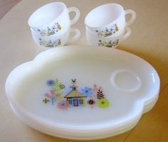 Vintage1960s Chalet Snack Set Federal Milk Glass #pyrex