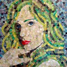 Artist Sandhi Schimmel Gold takes any paper waste he can find (junk mail, calendars, postcards, photos, old greeting cards, etc) and then assembles its pieces to create a portrait