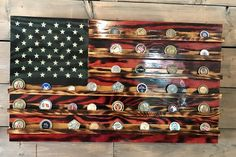 Challenge Coin Holder Rustic Glory-American-Wood Flag