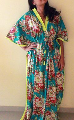 Tiffany blue Long maternity gown /  ANKLE length long nursing gown / ankle length robe for the hot mom. $36.00, via Etsy.