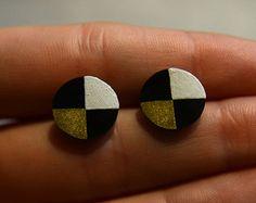 Circle Studs. Geometric Earrings. Round Studs. Circles. Black White Gold. Minimalist. Modern Earrings. Shrink Plastic. Shapes.