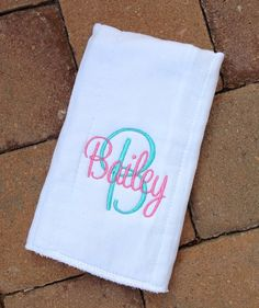 Set of 2 Personalized Burp Cloth Set embroidered by threadbands, $11.00