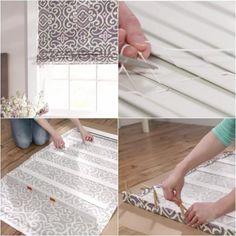 Turn mini blinds into roman shades.