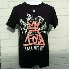"""Fall Out Boy Concert Tshirt My daughter bought this at The Concord Pavillon, CA Momentour 2014. She wore it a handful of times. Tag says P for petite / xsmall. Bust 17"""", shoulders 14.5"""", length 23"""". Tops Tees - Short Sleeve"""