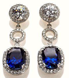 Jean Dousset Created Sapphire Pavé Frame Drop Earrings
