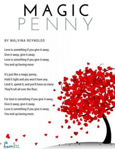Printable song lyrics to Magic Penny --- Malvina Reynold's classic song about love. Love is something if you give it away, you end up having more! Complete lyrics are available on Famlii. Preschool Songs, Preschool Crafts, Teach Preschool, Preschool Ideas, Teaching Ideas, Valentines Day Songs, Used Baby Items, The Face, Financial Stress