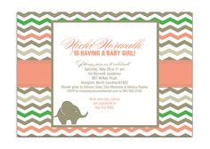 Elephant Baby Shower Invitation Chevron Baby Shower Pink Gray Green Baby Girl Modern Shower Invite DIY Printable or Printed - Nicki Style. $20.00, via Etsy.