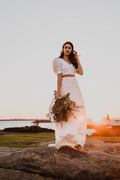 Sarah playing dress up in our gorgeous Baby I'm Yours set breezing in the wind Bohemian Wedding Dresses, Boho Dress, Bridal Separates, Playing Dress Up, Beautiful Bride, Lace Skirt, Brides, Wedding Day, Casual