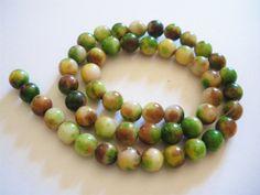 Perles de jade multicolore 8 mm x51 : Perles pierres Fines, Minérales par mercerie-jewelry
