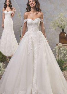 White Beach Wedding Dresses, Beautiful Prom Dresses, Princess Wedding Dresses, Wedding Dress Styles, Wedding Dress Organza, Lace Mermaid Wedding Dress, Wedding Dress Sleeves, Wedding Gowns, Tulle Wedding