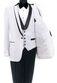 Bryan Michaels Tuxedo Shawl collar flat front trousers Lapeled Vest white 2 tone #OneButton