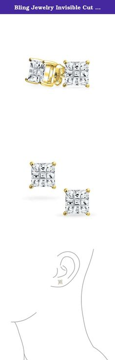Bling Jewelry Invisible Cut Checkerboard Square CZ Gold Plated 925 Silver Unisex Studs 5mm. Shine like a star when you wear our Gold Plated silver stud earrings. Introducing our unique checkerboard stone that boasts an invisible cut design, our finely crafted square studs will be your favorite pair of small stud earrings before long. Not every outfit calls for large jewelry. Sometimes just a hint of sparkle is all you need to look chic and stylish. A cubic zirconia earring makes a great…